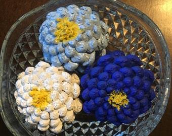 Zinnia painted pinecones, floral arrangement, fake flowers, spring flowers, blue flowers, zinnia, spring, flowers
