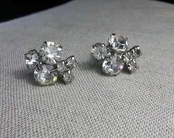 Clear Rhinestone Petite Cluster Earrings