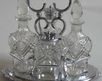 Vintage Dining - Lovely EPNS Silver Plated Four Piece Cut Glass Cruet Set