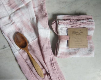 Flour Sack Shibori Dish Towel, Tea Towel: Dusty Rose