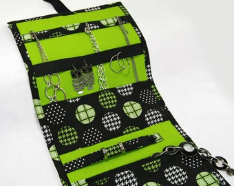 Jewelry Travel Organizer, Jewelry Roll, Jewelry Case in Polka-Dot Lime Fabric