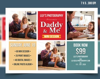 Fathers Day Mini Sessions, Daddy and Me Mini Session Template, Marketing Board, Photoshop Template, Photography Marketing Set