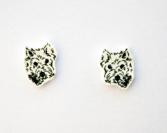 Handmade Illustrated Dog Westie Earrings