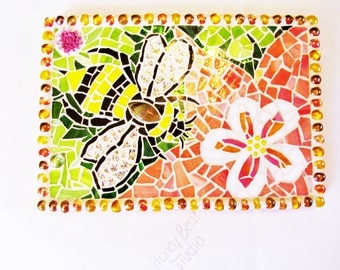 "OOAK Bumble Bee and Flowers Mixed Media Stained Glass Mosaic Wall Hanging ""The Pollinator"" 12""W x 8.25H"", Free Shipping"