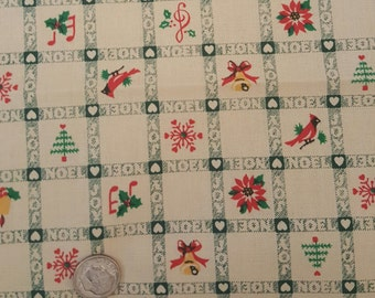 Cotton Quilting Fabric Christmas Print One Yard