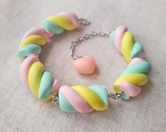 Marshmallow bracelet, candy bracelet, fairy kei, sweet lolita, miniature food jewelry, pastel goth, kawaii bracelet, pastel jewelry