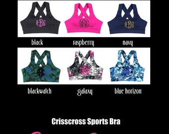 Monogram Sports Bra, Custom Sports Bra, Crisscross Sports Bra, Personalized