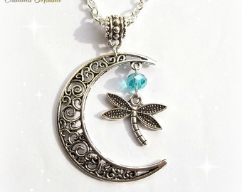 Dragonfly Necklace, Moon Necklace, Dragonfly Pendant, Moon Pendant, Silver Moon, Blue Dragonfly, Crescent Moon, Pagan Jewellery, Wiccan