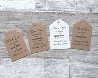 "Recycled Brown Kraft, Ivory Cream ""Thank you for sharing our first meal"" Personalised Wedding Scalloped Luggage Tags"