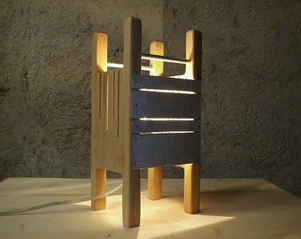 """Lamp """"City"""" collection in Maple and brushed aluminum."""