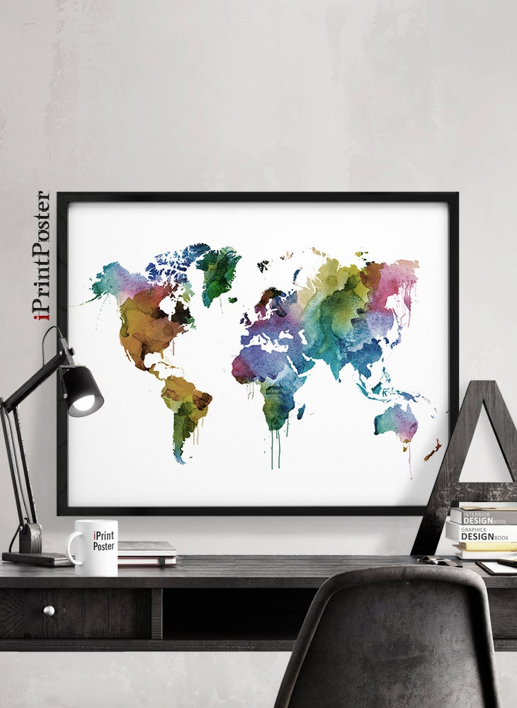 world map print large world map travel watercolor map