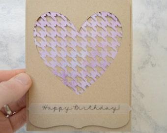 Handmade Happy Birthday Card - Watercolor Houndstooth