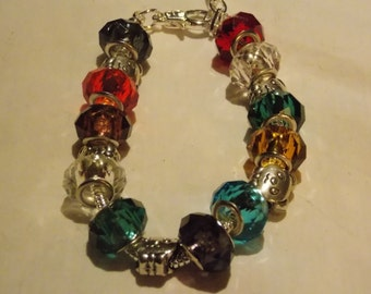 Hand made, Screw bangle bracelet w/ multi color  glass beads