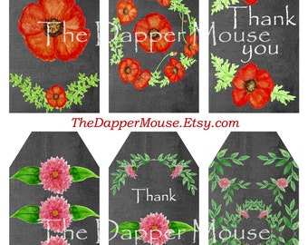 Printable Chalkboard Gift Tags Printable Poppy Tags Printable Dahlia Tags Commercial Use
