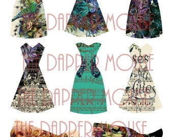 "Dresses Digital Collage Sheet Digital Dresses Collage Sheet Commercial Use 8.5""x11"" at 300 PPI"