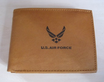 "Mankind Wallets Men's Leather RFID Blocking Billfold w/ ""United States Air Force"" Image~Makes a Great Gift!"
