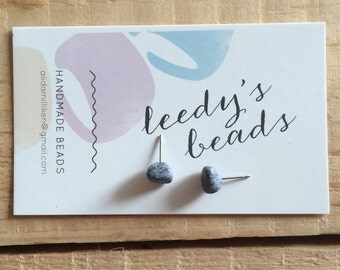 Handmade Grey Stud Polymer Clay Earrings