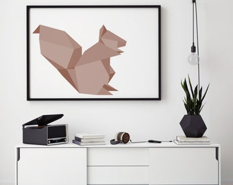 Squirrel Print, Geometric Squirrel Print. Digital Art Print Gift