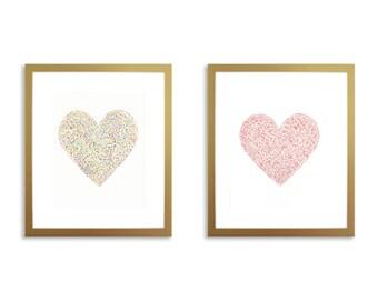 Heart nursery wall art, set of two prints, watercolor hearts, nursery wall art, nursery hearts, blue heart, pink heart, nursery heart print