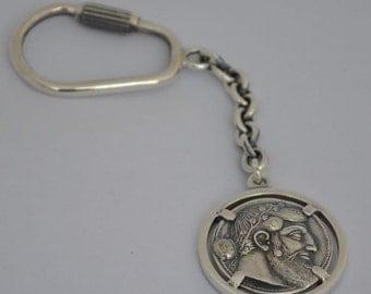 For Sale Dionysus Bacchus Satyr Silver Keychain - Phallus - Dionysos God of Wine