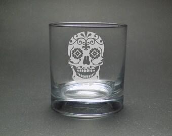 Sugar Skull Rocks Glass - Dia de los Muertos Glass - Mexican Skull Glass - Day of the Dead Glass - Bridal Sugar Skull Glass
