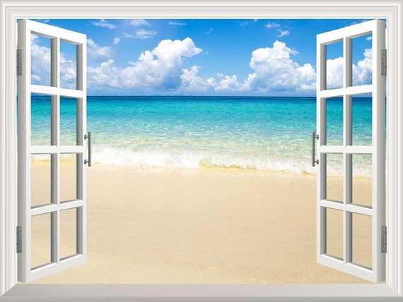 Wall mural beach and tropical sea creative window view for Beach view wall mural