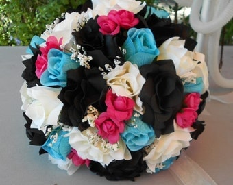 Brides bouquet black ,fuchsia, turquoise and ivory  roses Nosegay round style 2 pc