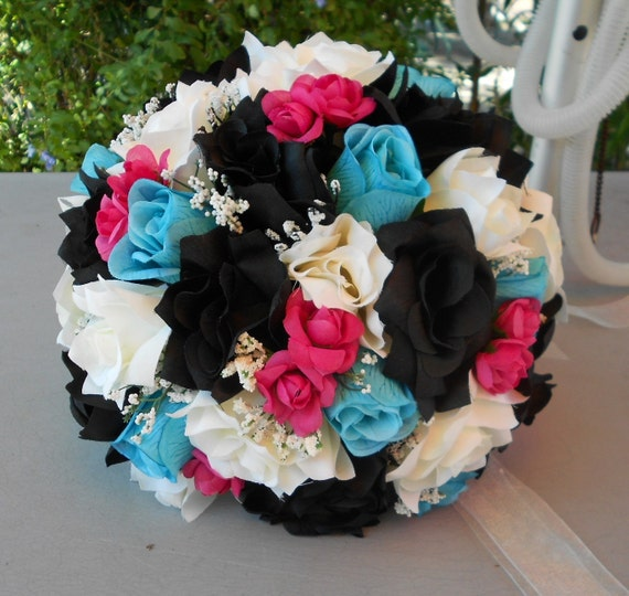 Brides bouquet black ,fuchsia, turquoise and ivory  roses Nosegay round style 17 pc