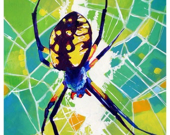 "SALE - Argiope - Original colorful traditional acrylic painting on paper 8.5""x11"""