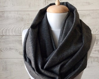 Scarf, Herringbone scarf, mens scarf, grey scarf, men infinity scarf, wool men scarf, men fashion, men  scarf FAST DELIVERY