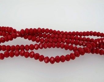 Ruby red faceted crystal beads. Christmas Red Rondelle 4x6mm, full strand