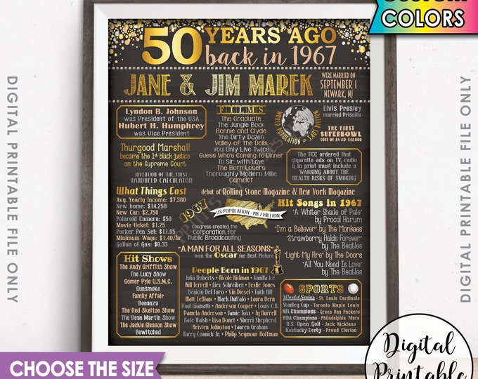 1967 Anniversary Poster, 50th Anniversary Gift 1967 Poster, Flashback 50 Years Ago Married in 1967 50th Gift Chalkboard Style Printable File