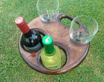 Folding Wine Table for Two Bottles
