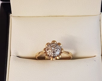 18ct Yellow Gold Diamond Cluster Ring Size K