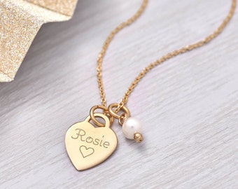 Personalised Petite Yellow Gold Heart Charm Necklace