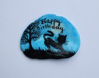 Cat Birthday Card, Hand Painted Birthday Card, Black Cat Painting on Shell, Unique Birthday Art Card, Cat Tree Moon, Painted Seashell Cats