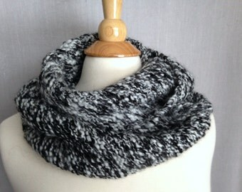 Black and White Infinity Scarf - alpaca/wool blend - hand-knit