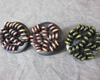 Three 1930s  Large Buttons -  Extruded Celluloid Screw Back