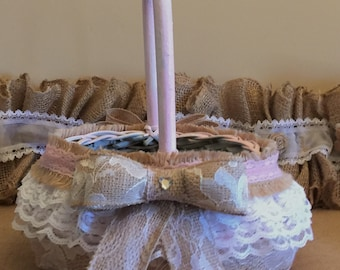 Handmade Burlap and Lace Pink Flower Girl Basket, Ready to Ship!