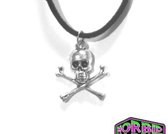 Gothic Skull & Crossbones Black Cord Necklace