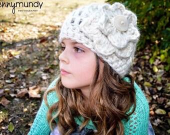 Girl's Crochet Hat With Oversized Crochet Flower