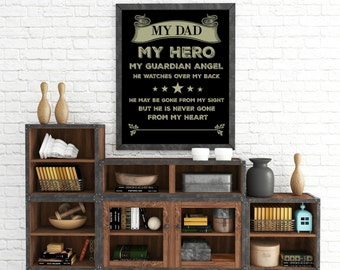 "Personalized ""Dad - Hero - Guardian Angel"" Wall Art"