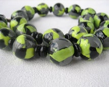 Woman jewelry yellow black gray multicolor beaded necklace unusual jewelry black beaded necklace woman gift polymer clay simple jewelry