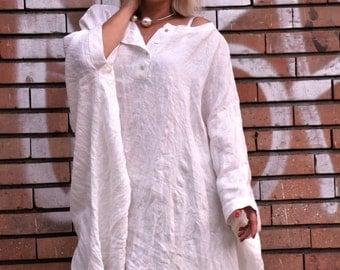 Long white loose tunic/100% linen caftan/Loose top/Oversize summer tunic/Handmade linen tunic/Casual tunic top/Long tunic/Linen dress/T1489