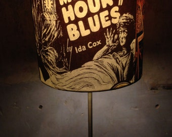 CARNIVAL old blues inspired Lamp Shade 'COLDBLUELOUISVODOO'