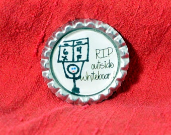 RIP Outside Whiteboard Bottlecap Charm or Pendant Roller Derby Non-Skating Official NSO