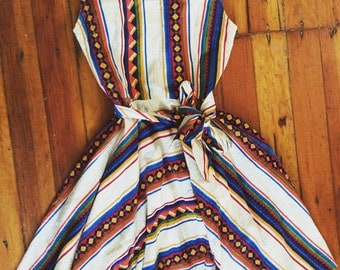 1950s Native American inspired cotton sun dress!