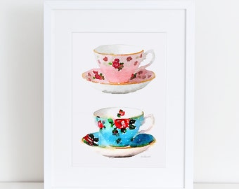 Vintage teacup tea cups watercolor, Prined 8X10 inches watercolour shabby chic french country home kitchen art vintage decor tea cup