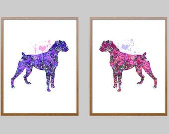 Set Of 2 Boxer dog Prints, boxer dog illustrations, Wall Art gift, dog art, set of two boxer dog watercolor prints NO234]