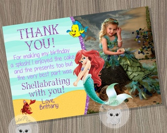 Little Mermaid Thank You Card, Disney Little Mermaid, Ariel Thank You Card, Little Mermaid Birthday, Mermaid Thank You Card, Princess Ariel